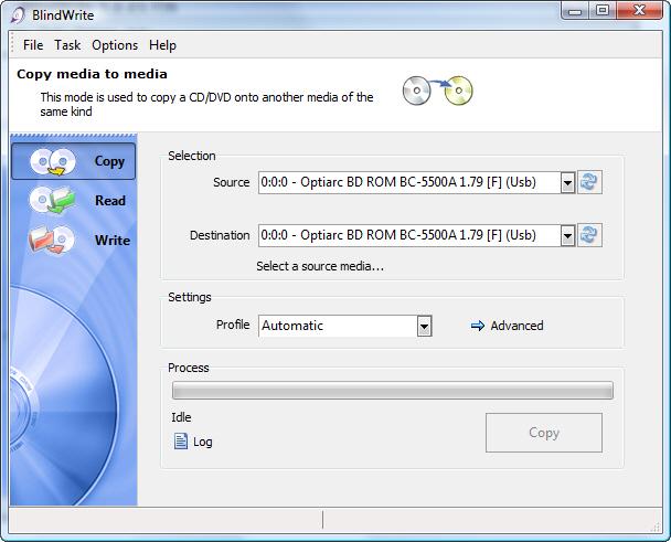 BlindWrite permet de créer des copies de sauvegarde de vos CD, DVD et Blu-Ray.