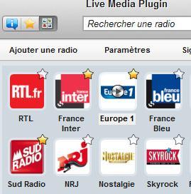 live media plugin radios préférées