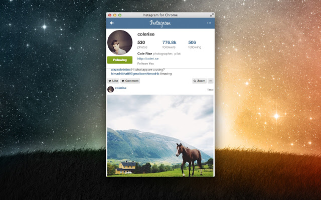 Instagram pour Chrome